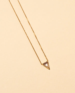 Triangle Necklace Blue Chalcedony flat view