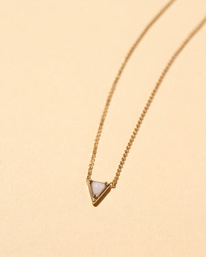 Triangle Necklace Snowdrift Agate / 14k GoldSnowdrift Agate / 18k Gold
