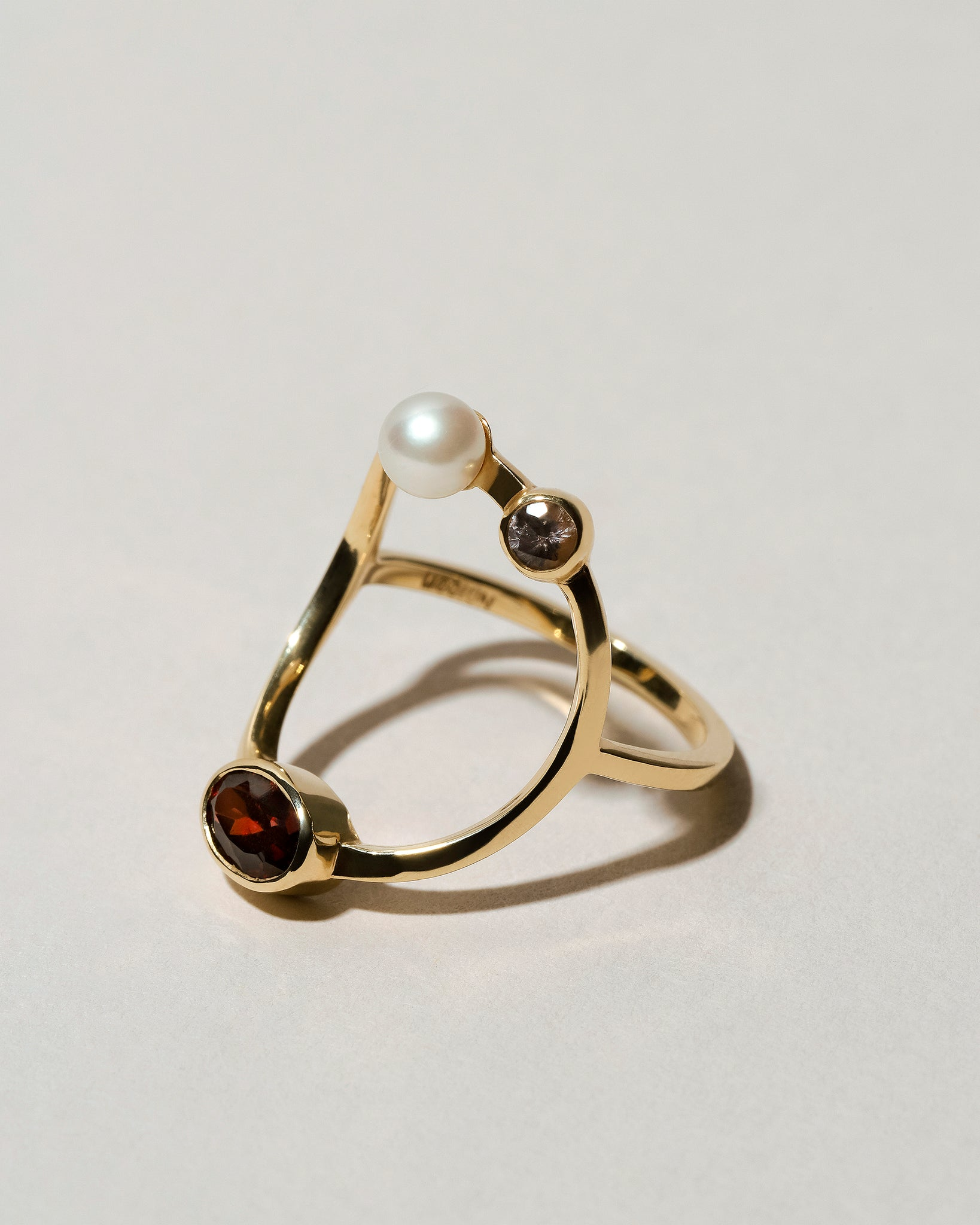 Trilogy Ring Garnet Right Side