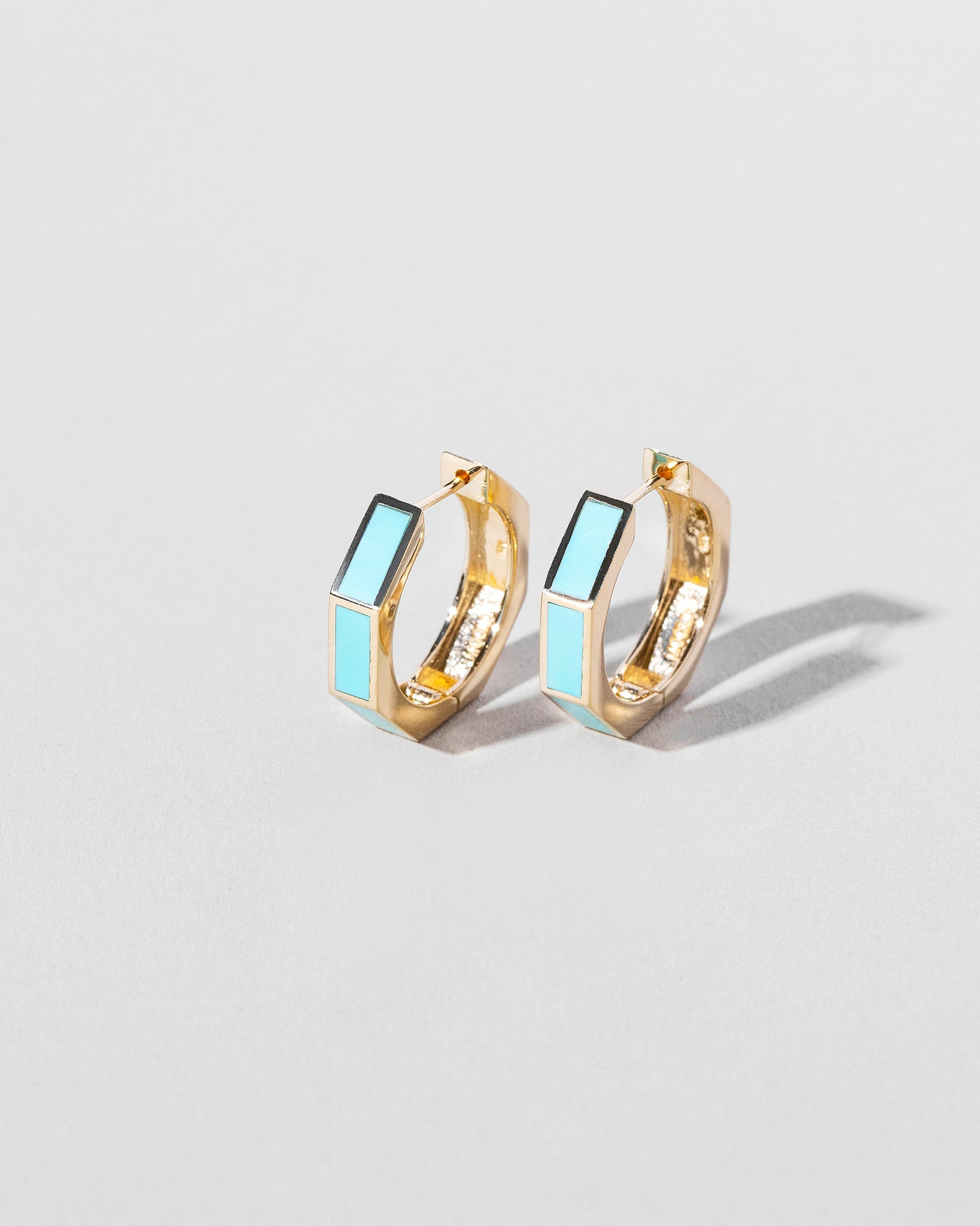Segmented Hoops Turquoise front view