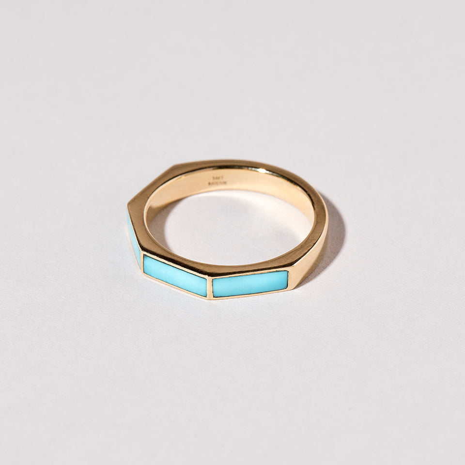 Top View of Segmented Inlay Band with Turquoise
