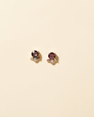 Vega Cluster Earrings with Mismatched Dark Purple Front View
