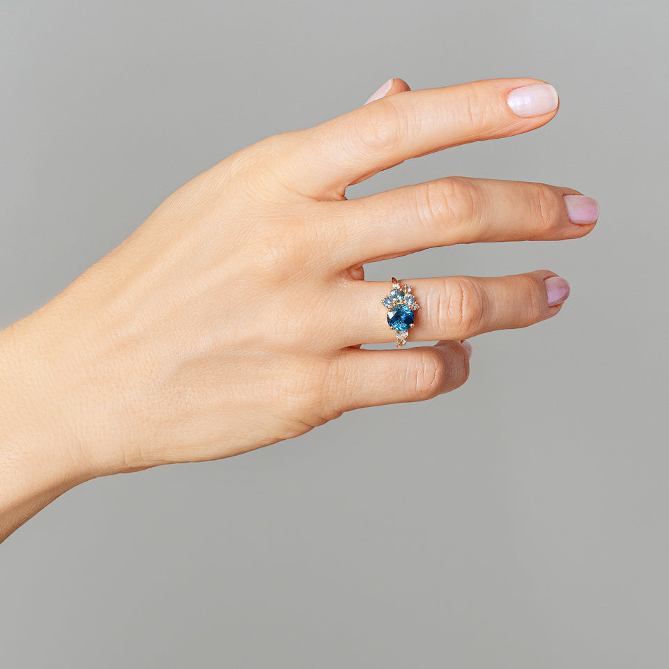 product_details::Malawi Sapphire Vega Ring on model