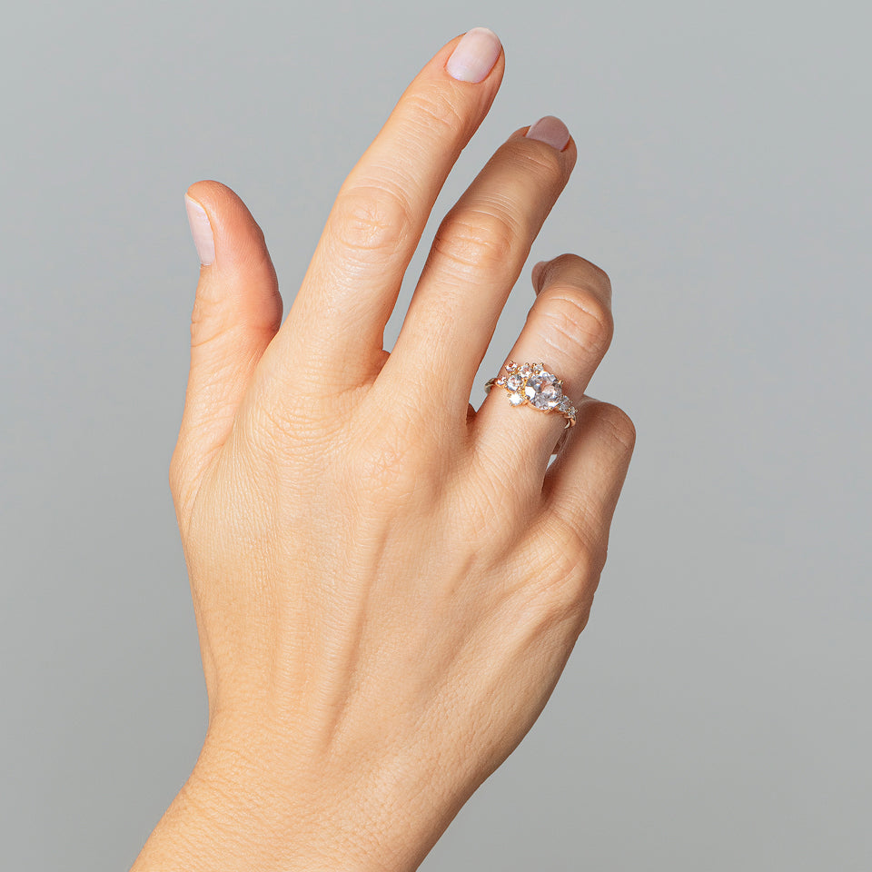 product_details::Pink Sapphire Vega Ring on model