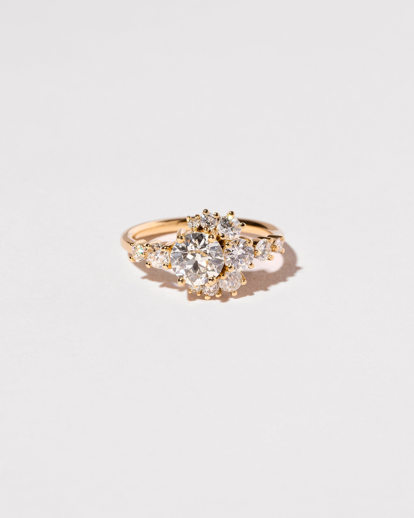 Front view White Diamond Crescent Ring