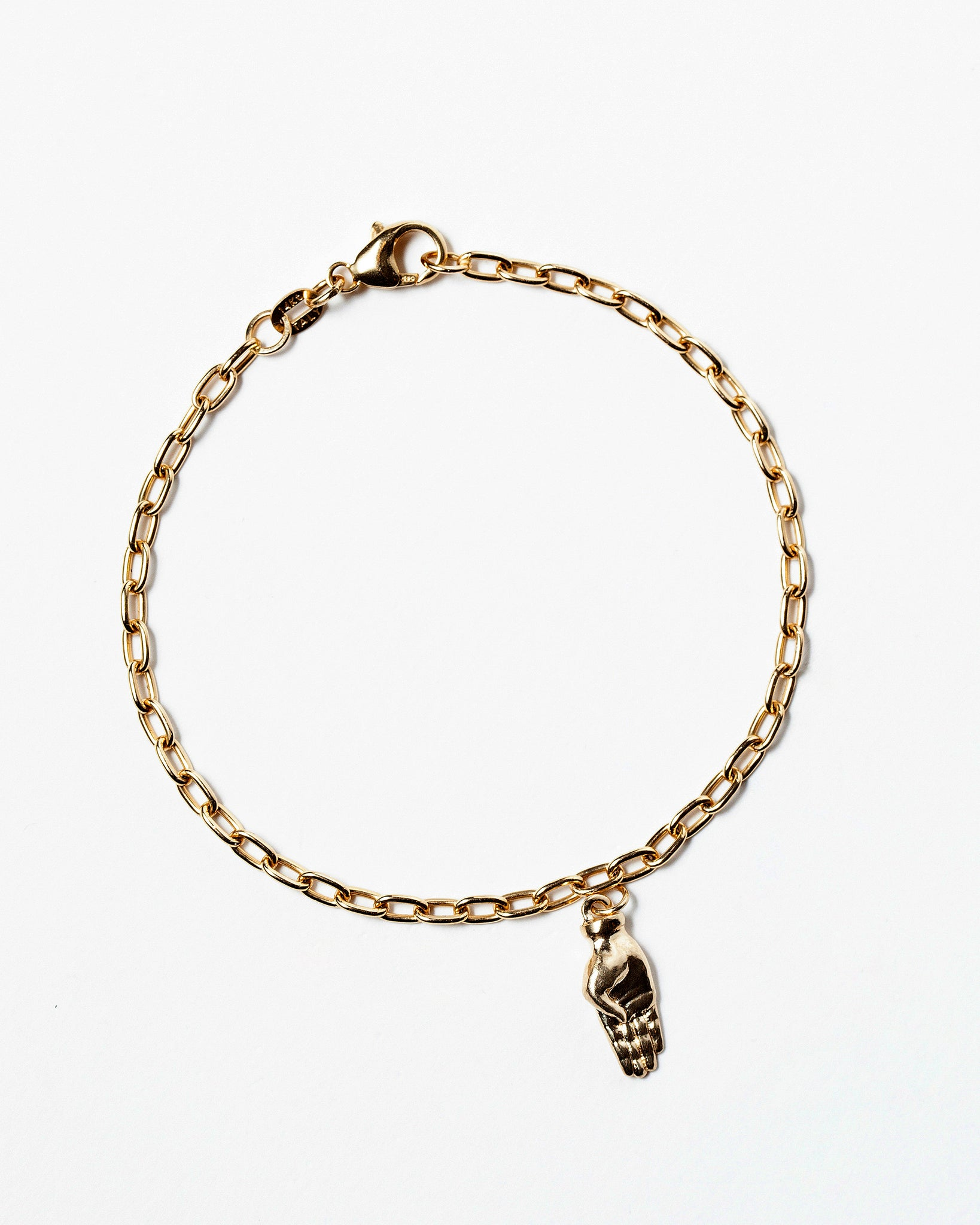 Sign Language Letter B Charm on Chain Bracelet