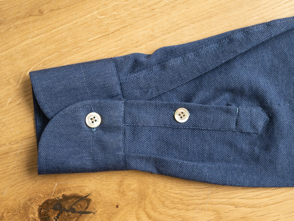 P014 Long Sleeve Polo - Denim Blue