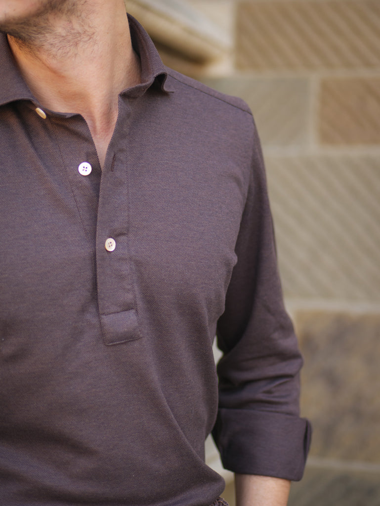 P014 Long Sleeve Polo - Dusty Chocolate