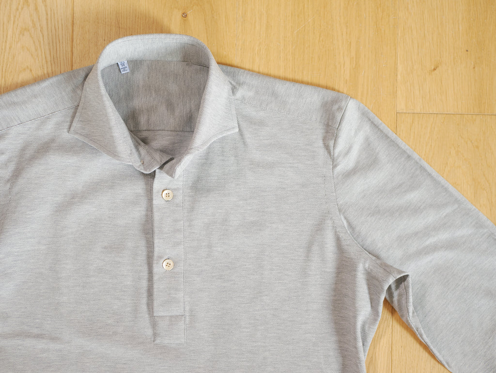 P014 Long Sleeve Polo - Grey Marle