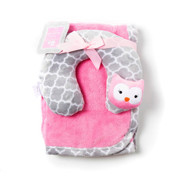 Baby Pillow and Blanket - Pink