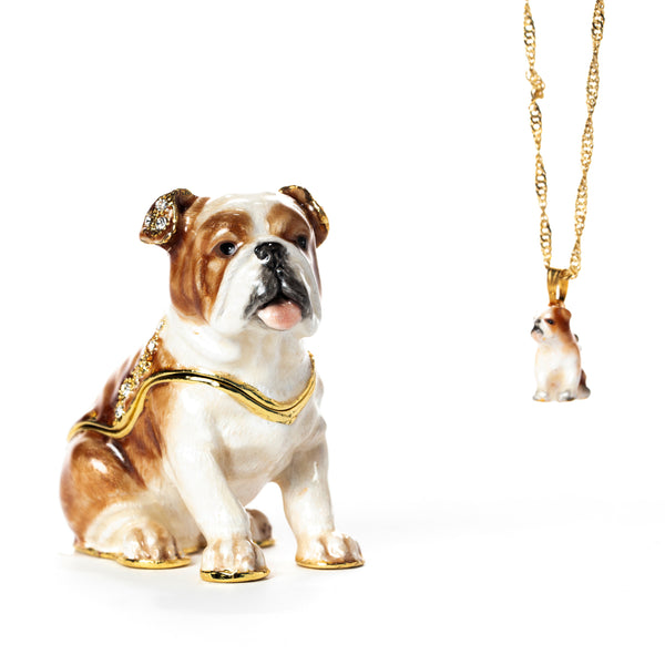 Blissful Bulldog Pill Box with Necklace