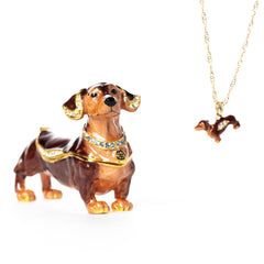 Dandy Dachshund Pill Box with Necklace