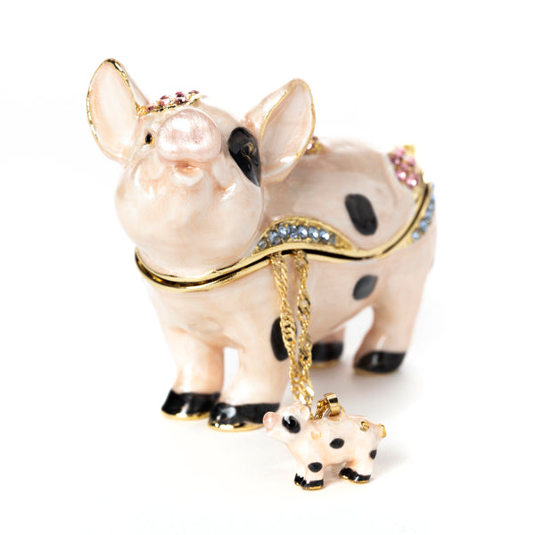 Porky Pig Pill Box with Necklace