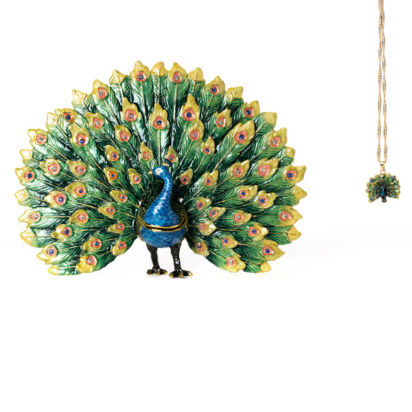 Queen Sheeba Peacock Pill Box with Necklace