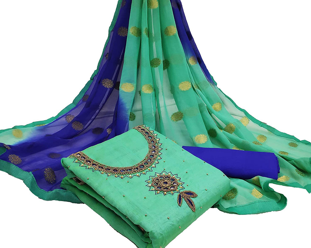 Staring Rama Green Colour Chanderi Cotton Embroidered Salwar Suit Material  (Unstitched)
