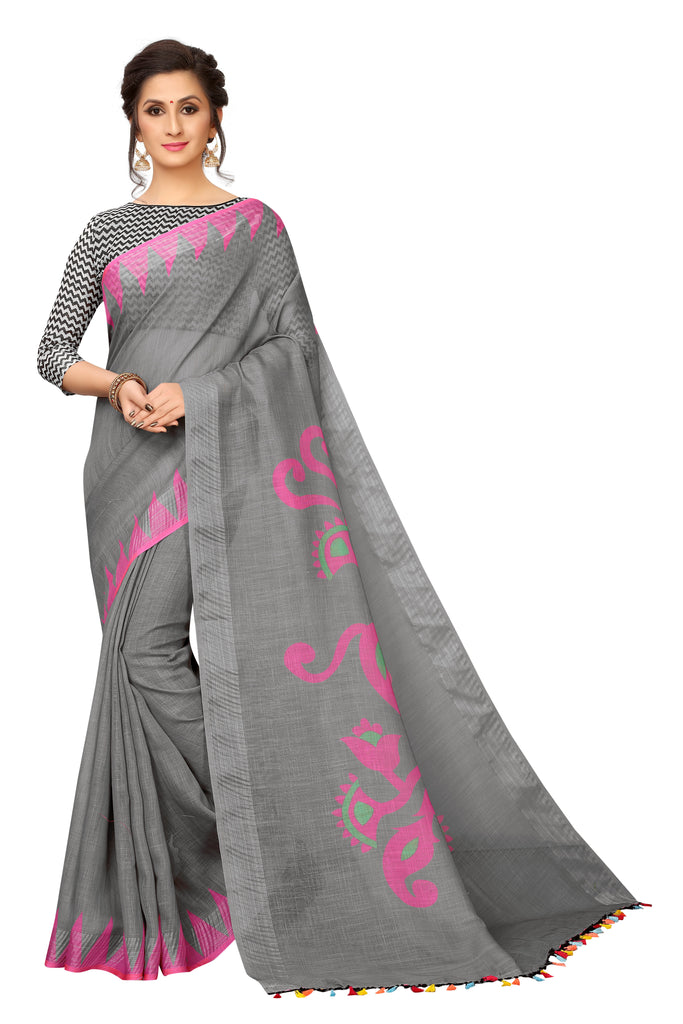 Flattering Grey And Pink Colored Festive Wear Pure Linen Designer Saree