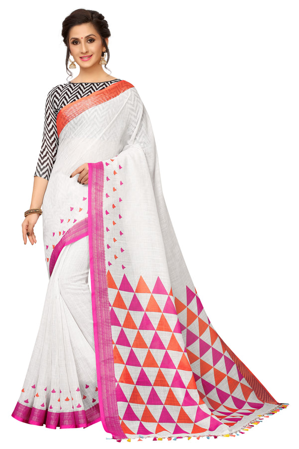 Demanding White Colored Printed  Pure Linen Saree