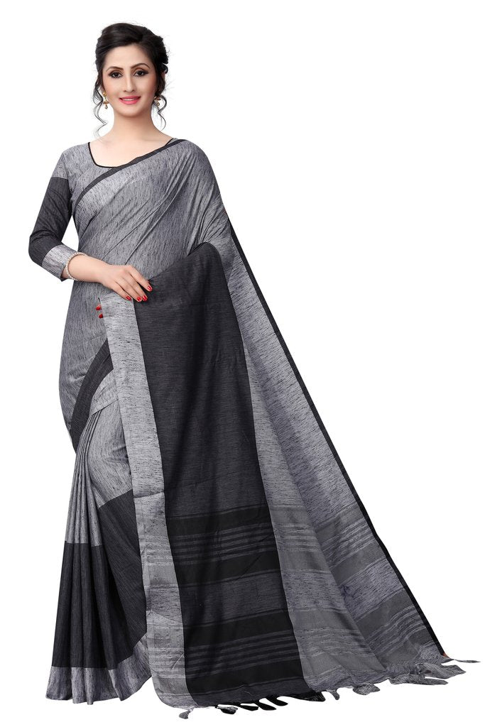 Lovly Latest Designer Black And Grey Colored Pure Linen Saree
