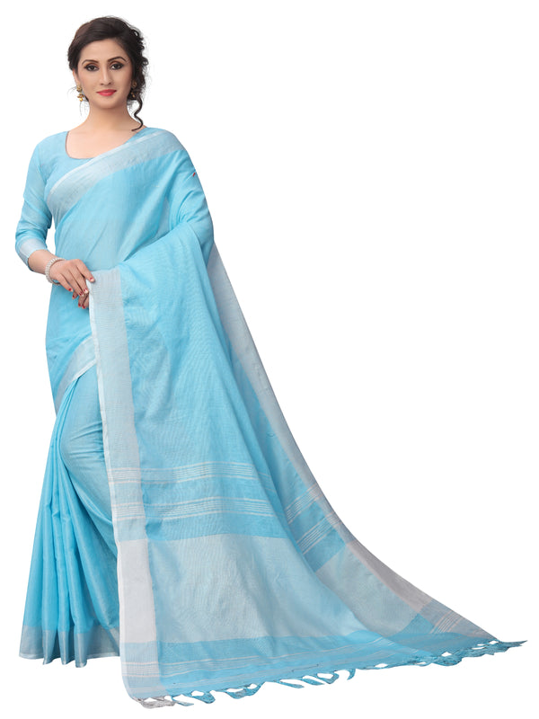Fab Light Sky Blue Colored Festive Wear Cotton Silk Saree