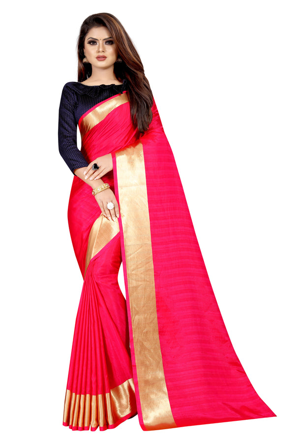 Imposing Red Colored Festive Wear Silk Saree With Beautiful Border