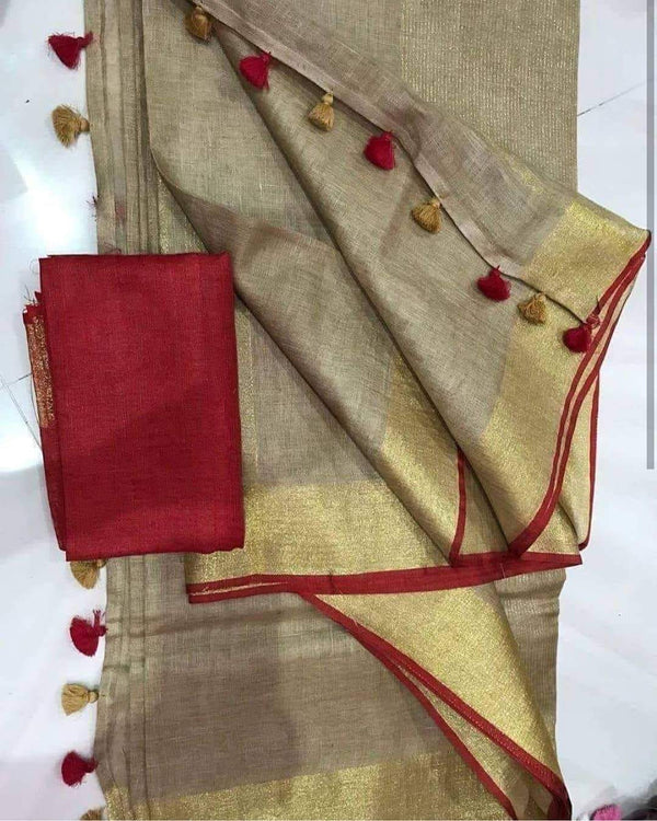 Extraordinary Cream And Red Pure Linen Designer Saree