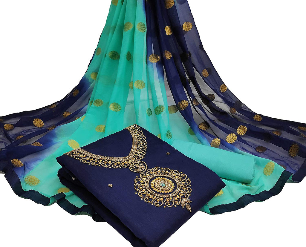 Surpassing Navy Blue And Rama Green Colour Chanderi Cotton Embellished, Solid Salwar Suit Material  (Unstitched)