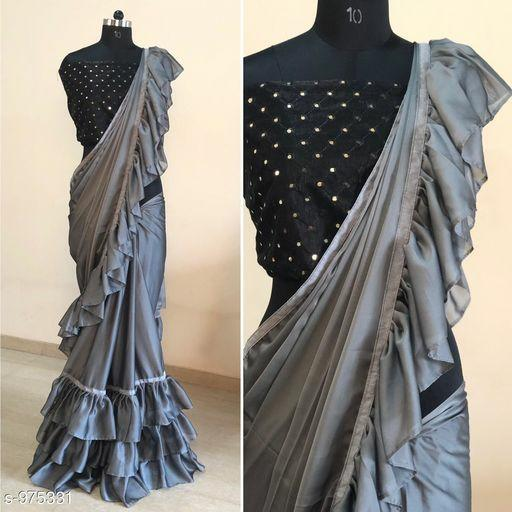Pretty Grey And Black Colored Designer Rangoli Silk Saree With 3 Line Ruffle And Mirror Work Blouse
