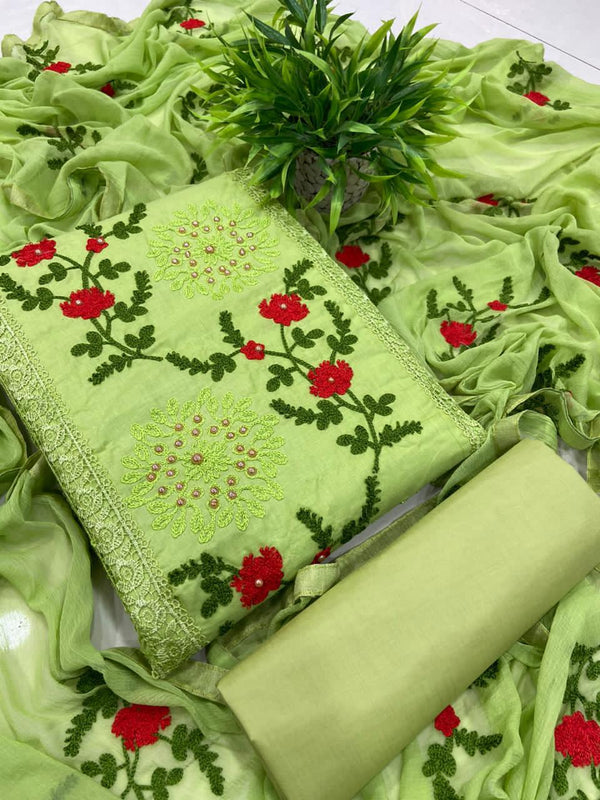 Crimson Parrot green Pure Cotton Embroidered Salwar Suit Material  (Unstitched)
