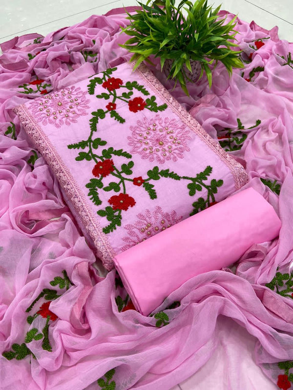 Glowing Pink Pure Cotton Embroidered Salwar Suit Material  (Unstitched)