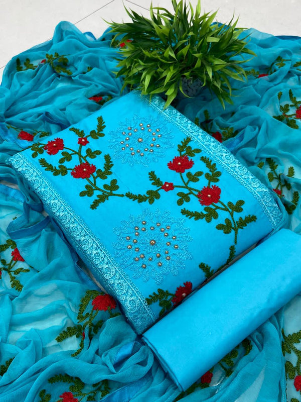 Flirty Sky Blue Pure Cotton Embroidered Salwar Suit Material  (Unstitched)