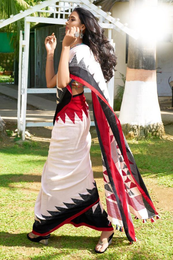 Desirable White And  Black Festive Wear Woven Linen Silk Saree