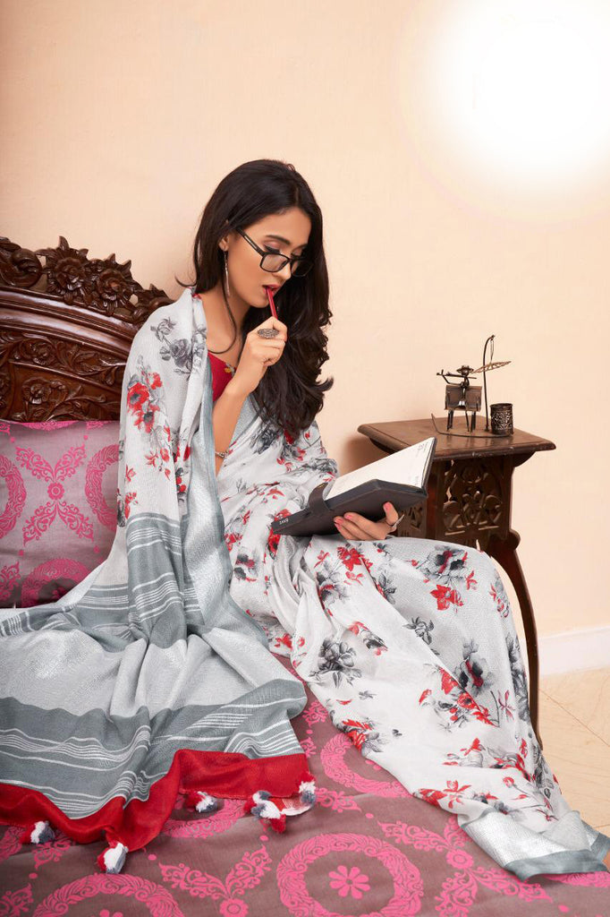 Demanding White Colored Casual Printed Linen Saree