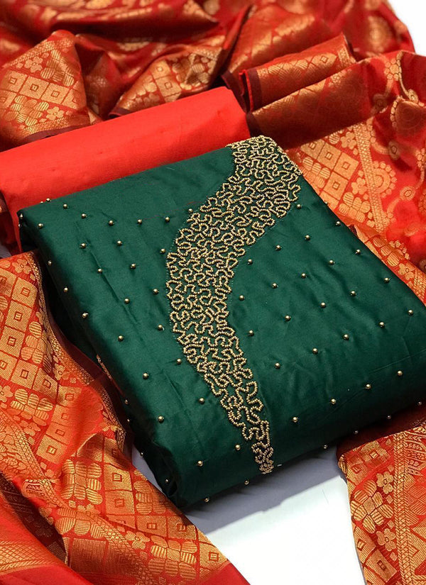 Exceptional Green And Orange Colour Chanderi Cotton Embroidered, Embellished, Self Design Salwar Suit Material  (Unstitched)