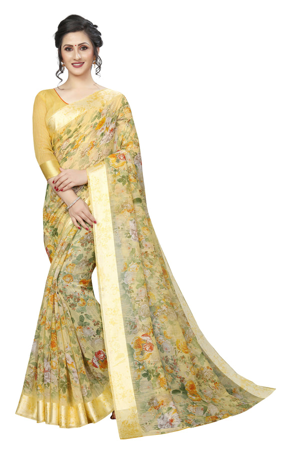Majesty Light Yellow Pure Pure Linen Designer Saree