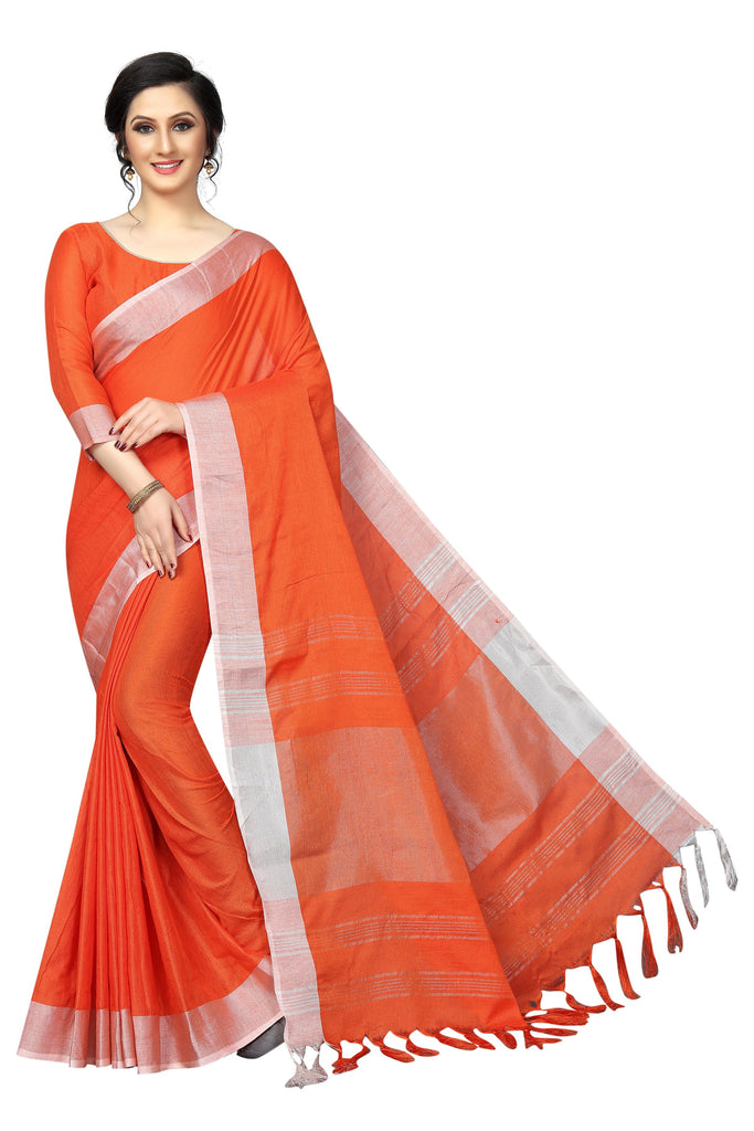 Jazzy orange  Pure Linen  fancy Designer Saree