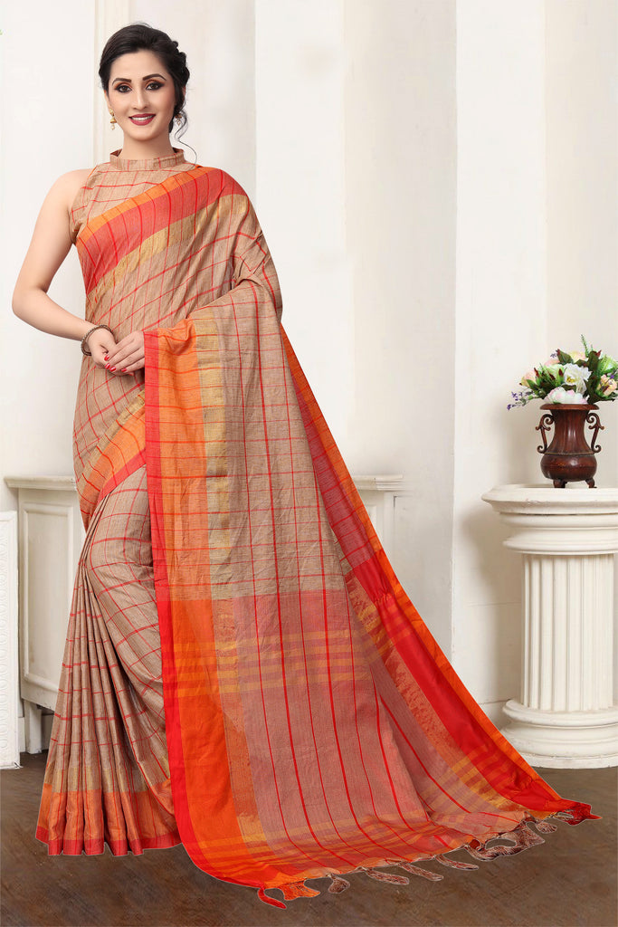 Captivating Brown Pure Linen Designer Saree