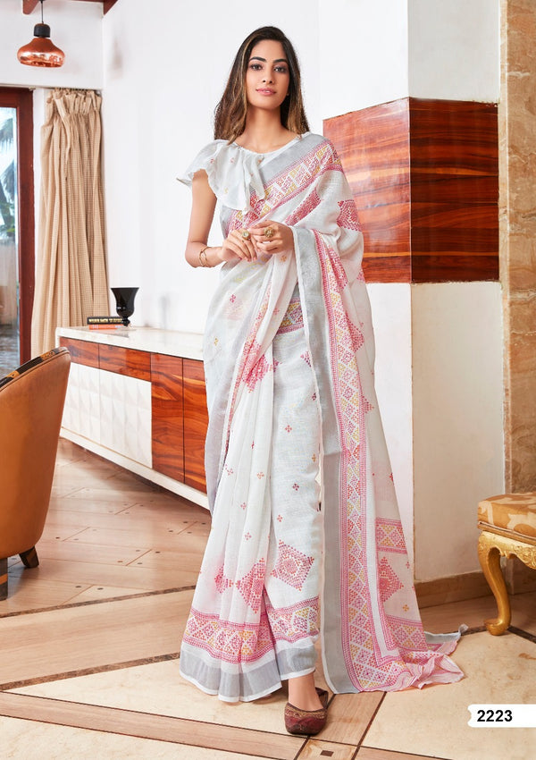 Appealing White Printed Pure Linen Designer Saree