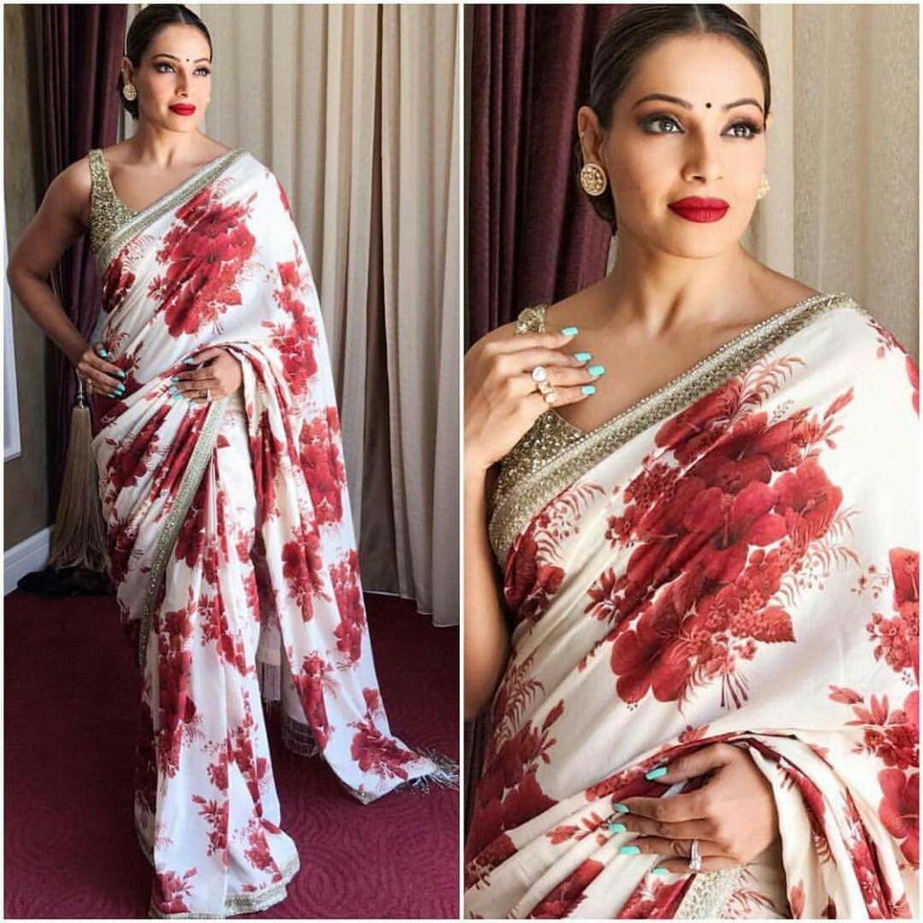 Flattering Off White Flowered colored Partywear Linen Designer Printed Saree