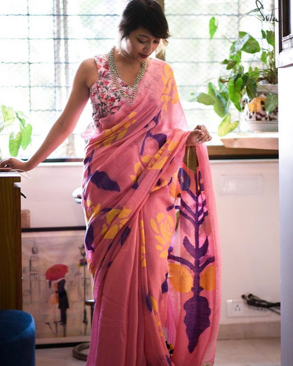 Pleasant Baby Pink  Colored Printed  Pure Linen Saree