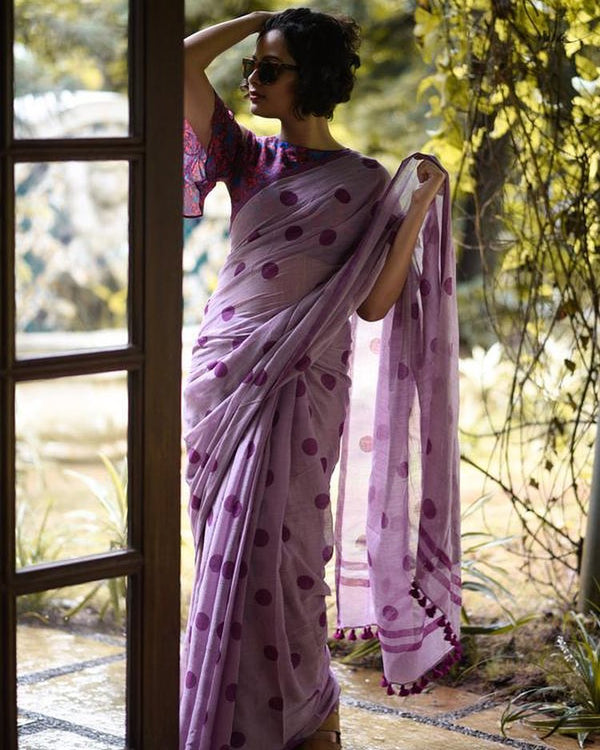Intricate Purple Colored Printed  Pure Linen Saree