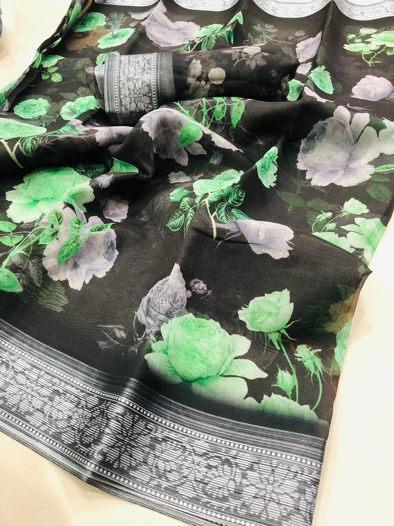 Pleasant Pure Linen Black And Green Colored Casual Printed Saree