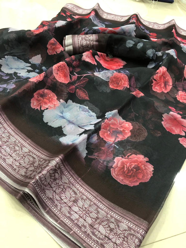 Intricate Pure Linen Black And Pink Colored Casual Printed Saree