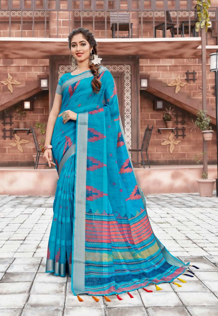 Entrancing Pure Cotton Sky Blue Colored Casual Printed Saree