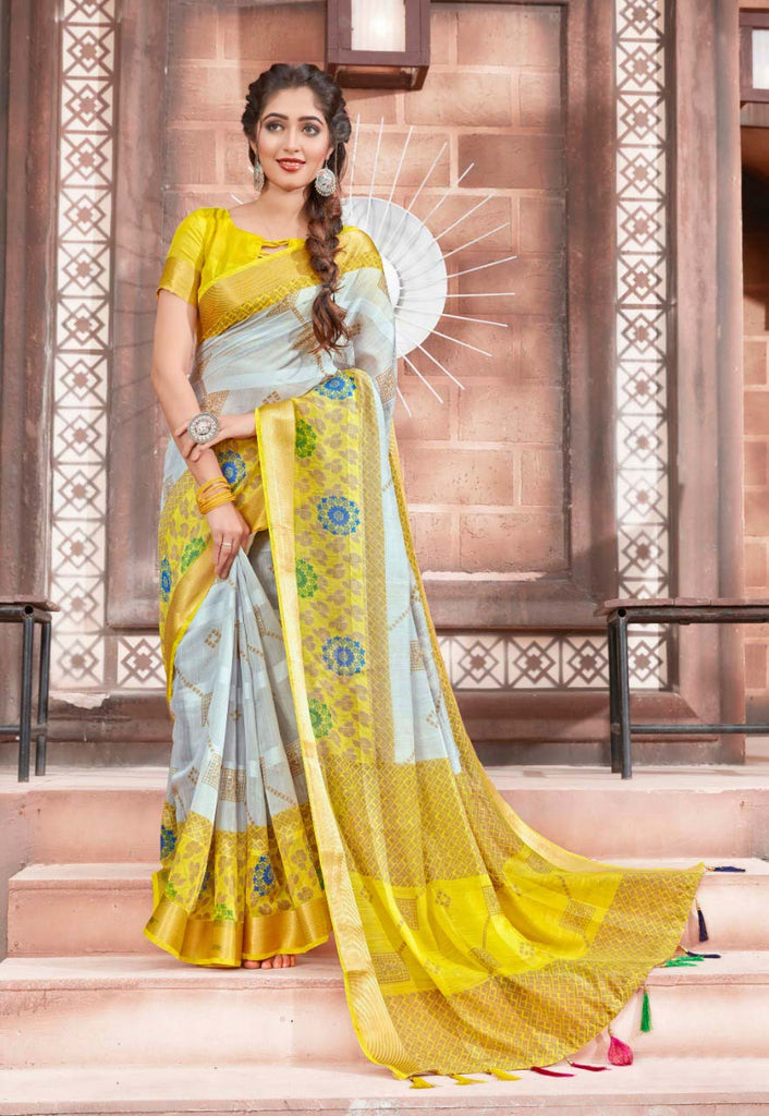 Ideal Pure Cotton Yellow Colored Casual Printed Saree