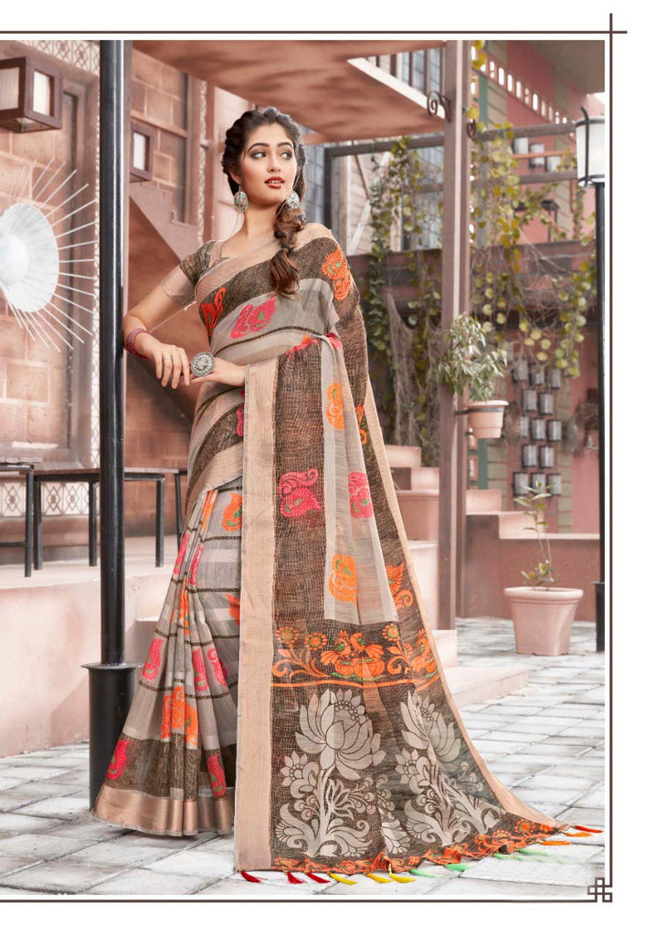 Flaunt Pure Cotton Multi Colored Casual Printed Saree