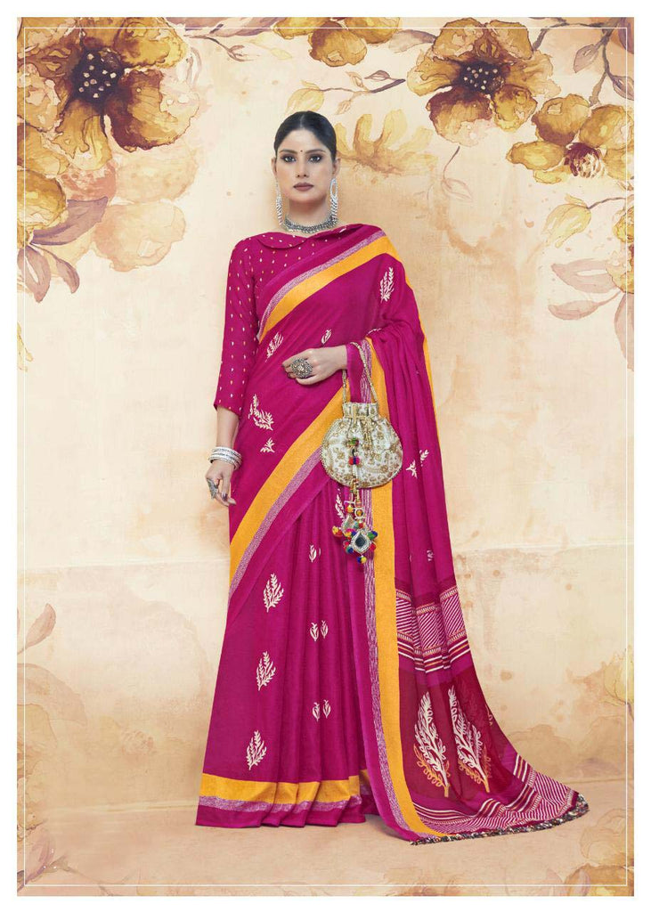Graceful Linen jute Pink Colored Casual Printed Saree