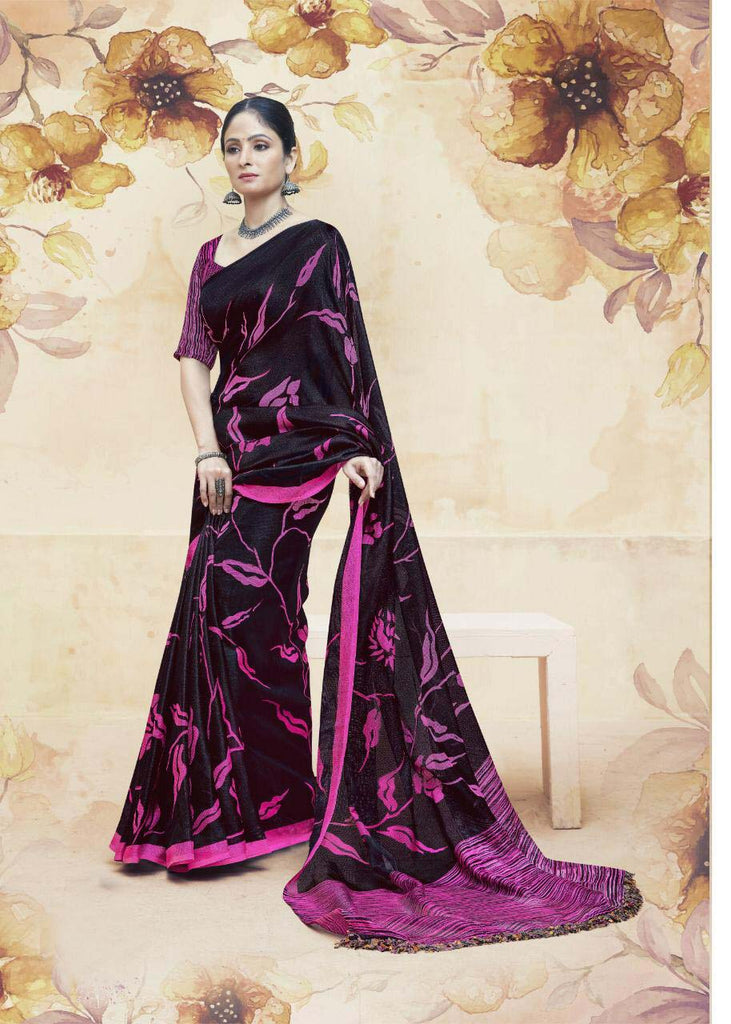 Innovative Linen jute Black And Pink Colored Casual Printed Saree