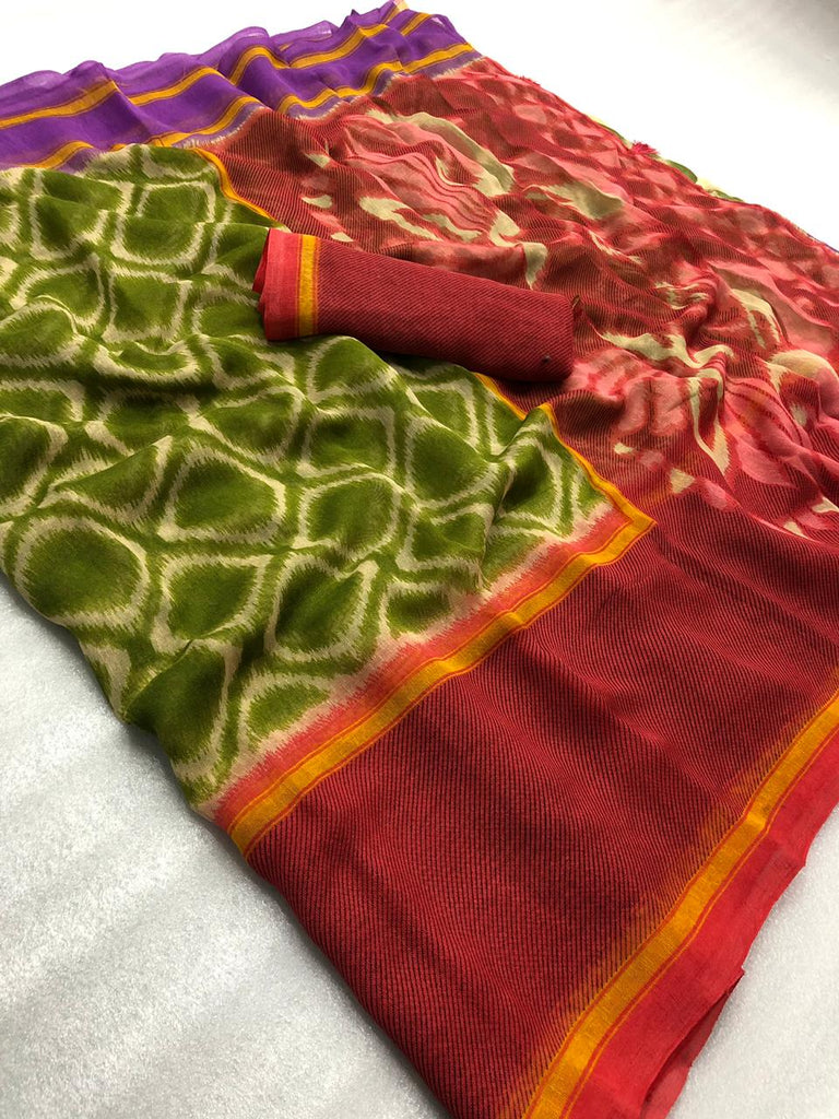 Ideal Pure Linen Mehndi And Red Colored Casual Printed Saree
