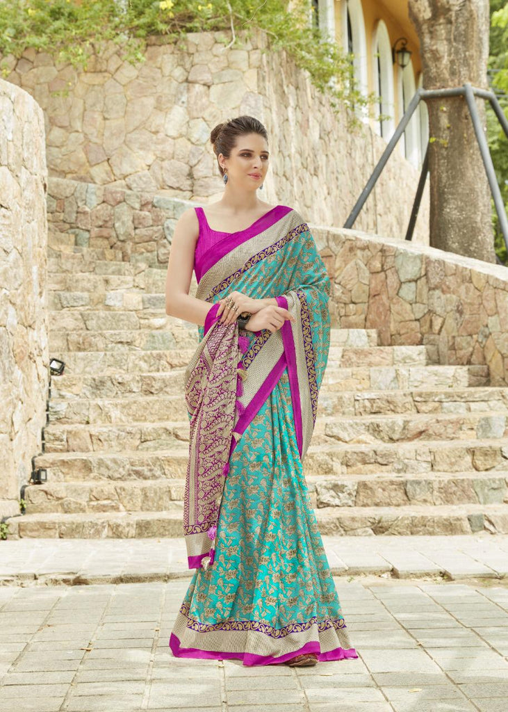Fantastic Silk Green And Pink Colored Casual Printed Saree