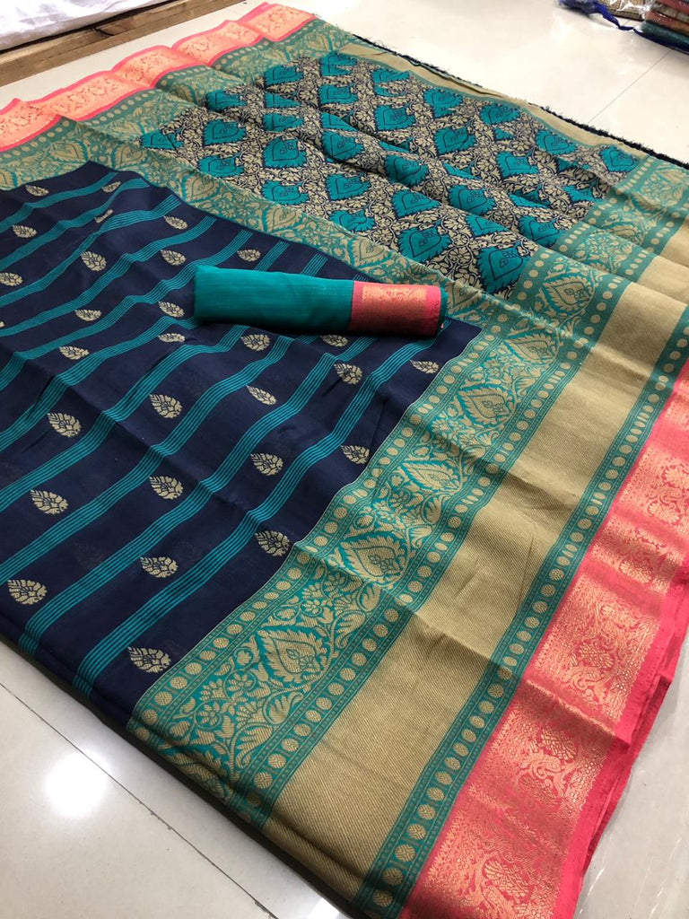 Intricate Cotton Multi Colored Casual Printed Saree